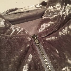 Have Jackets & Coats - NWT Crushed Silver Velvet Track Jacket